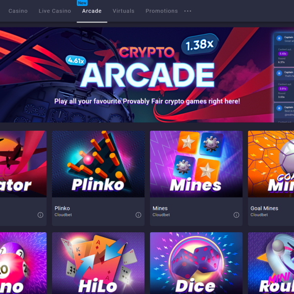 Arcade section of Cloudbet